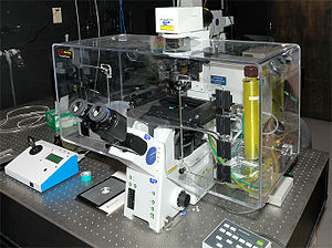 Live cell imaging -  Figure 1: A live cell microscope. Live cell microscopes are generally inverted. To keep cells alive during observation, the microscopes are commonly enclosed in a micro cell incubator (the transparent box).