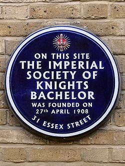 On this site the imperial society of knights bachelor was founded on 27th april 1908