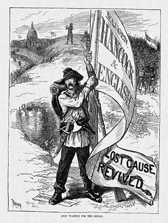 1880 United States presidential election - A cartoon from Harper's Weekly suggests that defeated Confederates will overturn the results of the Civil War should Hancock be elected.