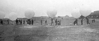 Incendiary balloon - Balloon launch for Operation Outward. Felixstowe, Suffolk, England