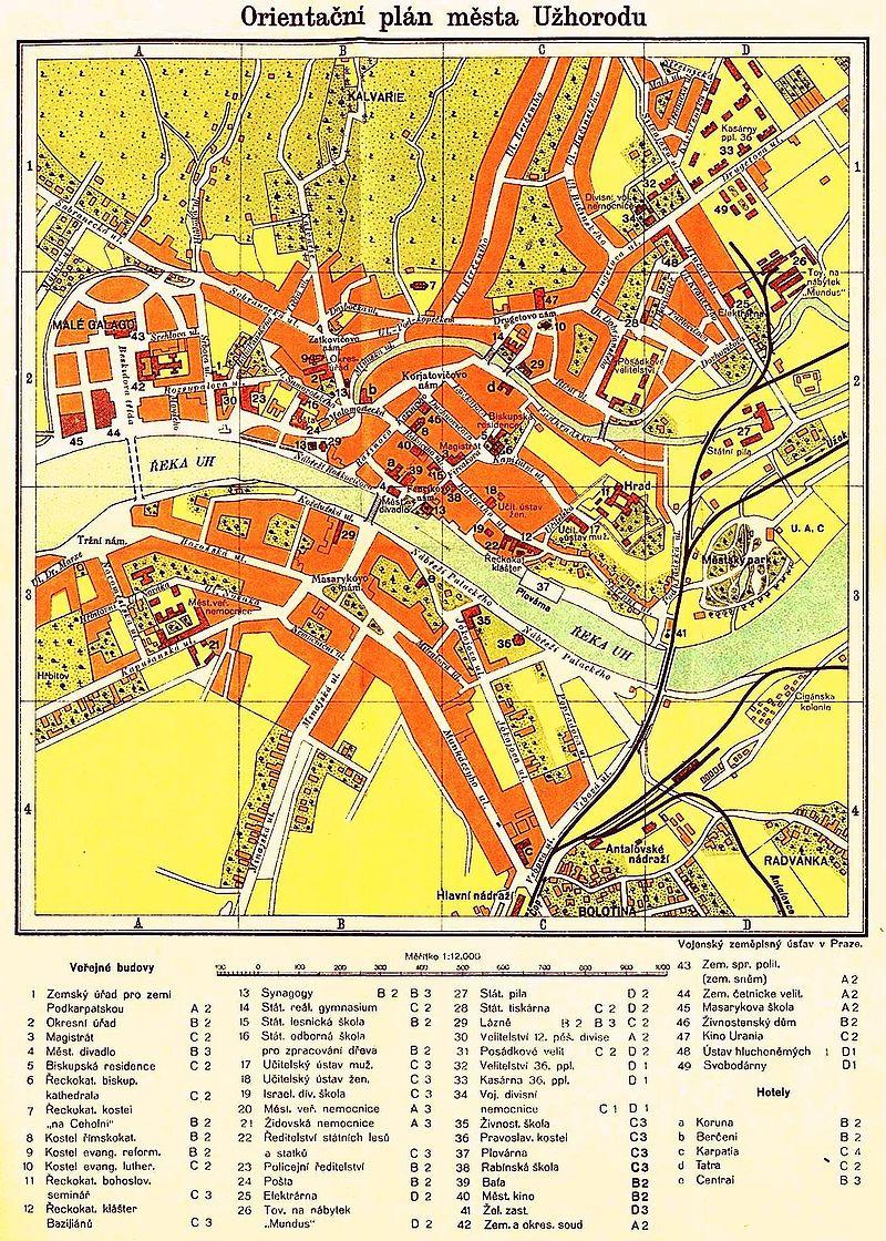 План Ужгорода в чехословацкий период (1933)
