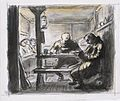 Original caption- A typical scene in a guard room. The soldier on the left is asleep in his bunk, two others are reading and writing but all are ready to turn out at a moment's notice. Art.IWMARTLD653.jpg
