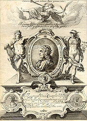 Engraved frontispiece of George Sandys's 1632 London edition of Ovids Metamorphoses Englished.