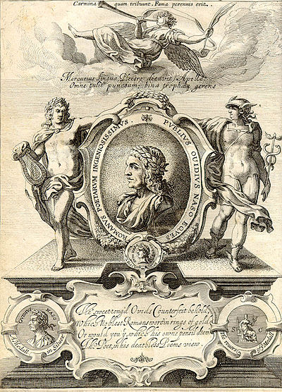 Engraved frontispiece of George Sandys's 1632 London edition of Ovid's Metamorphoses Englished. Ovidius Metamorphosis - George Sandy's 1632 edition.jpg