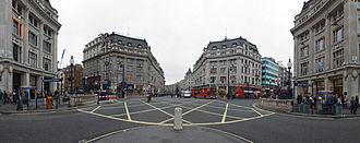 Regent Street - Panoramic view of Oxford Circus; the location where Oxford Street meets Regent Street