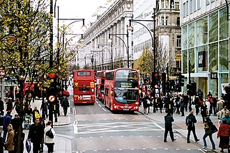 A41 road - The view west along Oxford Street in December 2006, showing Selfridges department store in the background