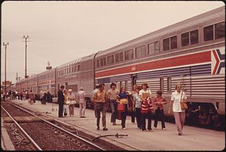 Hi-Level - Hi-Level coaches on Amtrak's Southwest Limited at Albuquerque in 1974; the lounge is second from right