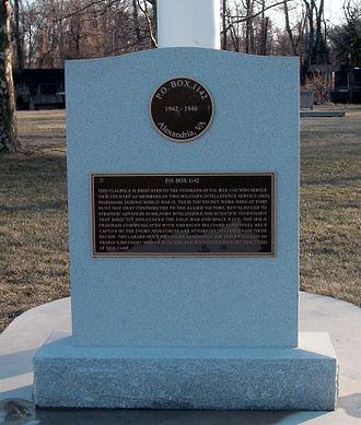 P. O. Box 1142 - Memorial to P. O. Box 1142 at Fort Hunt Park
