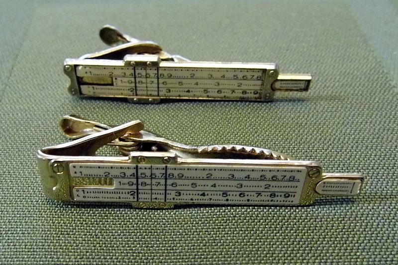 """File:Pair of Vintage """"Slide Rule"""" Tie Bars (9613422291).jpg"""