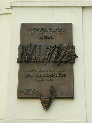 Jan Zahradníček - A historical marker in Brno