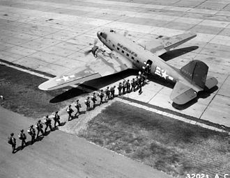 United States Army Airborne School - Students board a C-47, from the 75th Troop Carrier Squadron, at Lawson Field (circa August 1946).