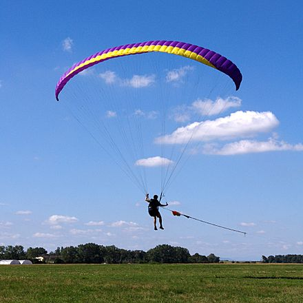 Paraglider towed launch, Miroslawice, Poland Paraglider towed launch.jpg