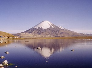 Water resources - Lake Chungará and Parinacota volcano in northern Chile