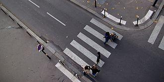 Zebra crossing - A zebra crossing in Paris, France