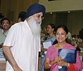 Parkash Singh Badal meeting with the Chief Minister of Rajasthan, Smt. Vasundhara Raje at the 53rd meeting of the National Development Council (NDC) on the Agriculture & Allied Sectors, in New Delhi on May 29, 2007.jpg