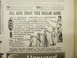 Parlour game - An American newspaper advertisement for a parlor game, circa 1900.
