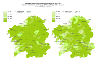 Map of Galicia showing speakers of Galician as first language according to Population and Housing Census of the Galician Statistics Institute (2001)