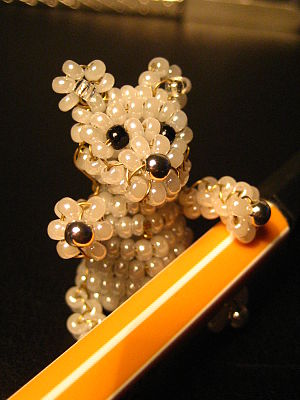 Beadwork - Polar bear made of seed beads