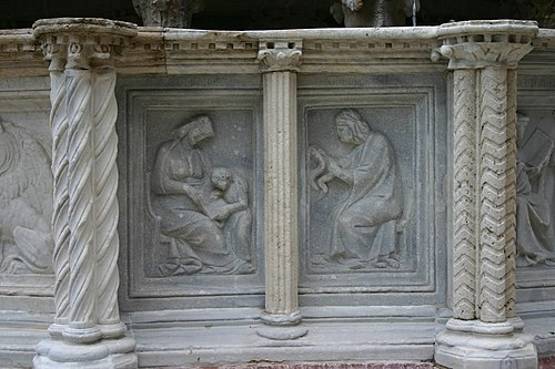 Allegory of Grammar and Logic/Dialectic. Perugia, Fontana Maggiore.