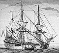 Petit vaisseau de guerre à deux ponts XVIIIeme siècle avec chaloupe équipage.jpg