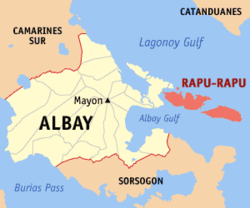 Map of Albay with Rapu-Rapu highlighted