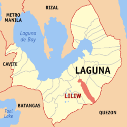Map of Laguna showing the location of Liliw.