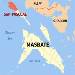 Map of Masbate with San Pascual highlighted