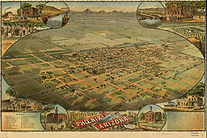 Phoenix, Arizona - Aerial lithograph of Phoenix from 1885