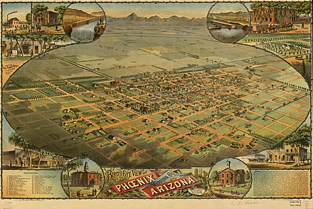 Aerial lithograph of Phoenix from 1885 Phoenix1885-AerialMap HiRes.jpg