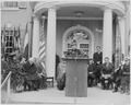 Photograph of Eleanor Roosevelt delivering an address at the dedication of Franklin D. Roosevelt's home at Hyde Park... - NARA - 199358.tif