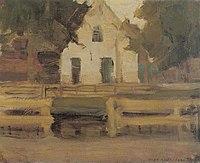 Piet Mondriaan - Gabled farmhouse façade in white - A249 - Piet Mondrian, catalogue raisonné.jpg