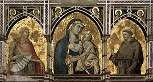 Pietro Lorenzetti - Madonna and Child with St Francis and St John the Baptist - WGA13526.jpg