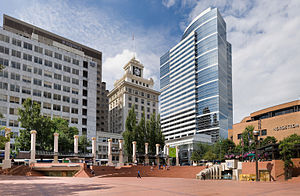 Neighborhoods of Portland, Oregon - Pioneer Courthouse Square, with Fox Tower in the background.