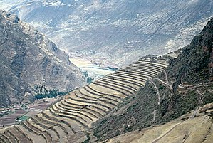 Incan agriculture - Andenes or terraces in the Sacred Valley of the Incas, close to Pisac, Peru. Symbol of the technology
