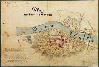 Bastion fort - Plan of Tvrđa from 1861, in Osijek, Croatia.
