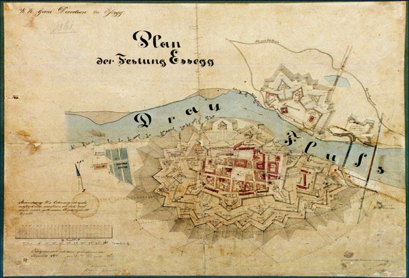Plan of Tvrdja in Osijek 1861