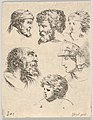 Plate 10- six heads, three bearded men, one soldier, and two children from 'The Book for Learning to Draw' (Livre pour apprendre à dessiner) MET DP831139.jpg