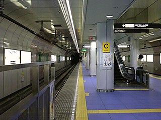 Dome-mae Chiyozaki Station Railway and metro station in Osaka, Japan