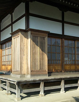 Pocket door - Pocket doors and the compartments into which they slide at a Zen Buddhist temple in Japan