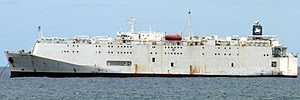 Livestock carrier - Closed livestock vessel Polaris 2 (8,443 DWT) anchoring at Las Palmas de Gran Canaria in June 2013