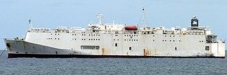 Livestock carrier - Closed livestock vessel Polaris 2 (8,443 DWT) anchoring at Las Palmas de Gran Canaria in June 2013