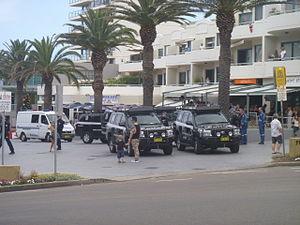 2005 Cronulla riots - Police presence at Peryman Square, Cronulla. 12 December 2015