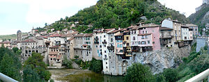 Vercors Regional Natural Park - The village of Pont-en-Royans perched on the edge of the Vercors