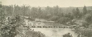 Battle of North Anna - A view of the pontoon bridge across the North Anna from Jericho Mills