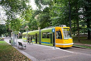 NS Line (Portland Streetcar) - A NW 23rd-bound streetcar  in the South Park Blocks