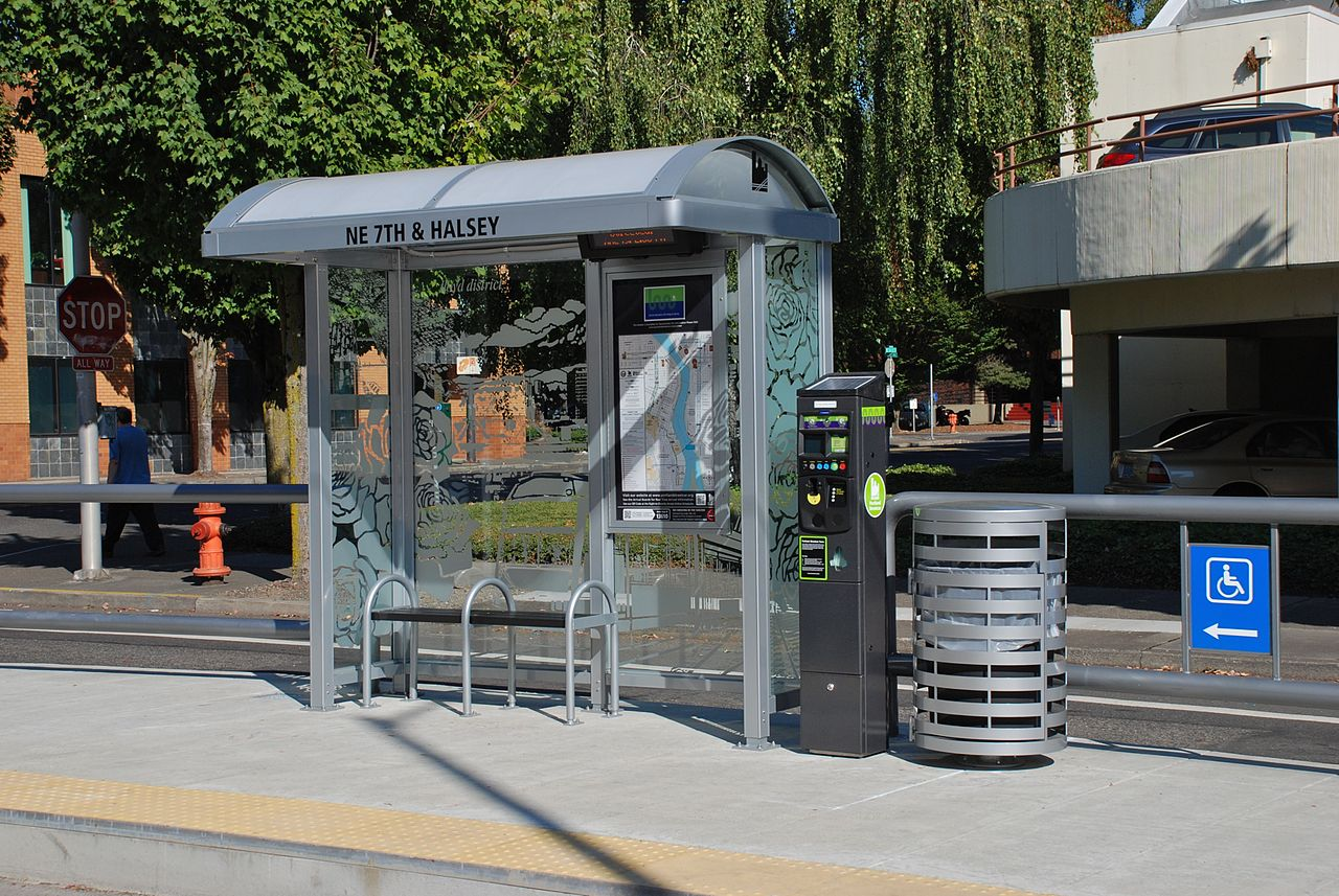 2 Person Car >> File:Portland Streetcar stop, 7th & Halsey, Sep. 2012.jpg - Wikimedia Commons