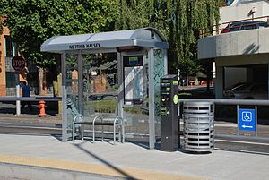 Portland Streetcar - The amenities at each streetcar stop include a small shelter (with interior information display), ticket vending machine and trash can.