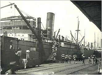 Port of Santos - Coffee transportation at the port in 1895