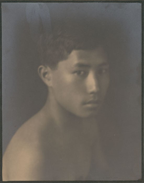 Portrait of Chinese-Hawaiian boy, titled 'The Fisher Boy' (front view) 1909
