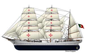 NRP Sagres (1937) - Line art of the NRP Sagres